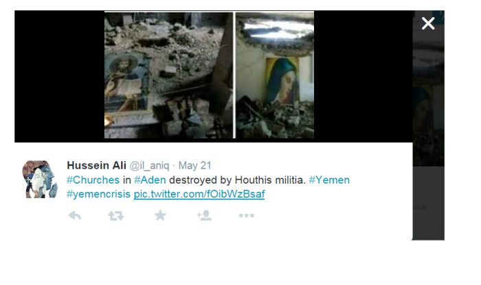 church destruction by houthis